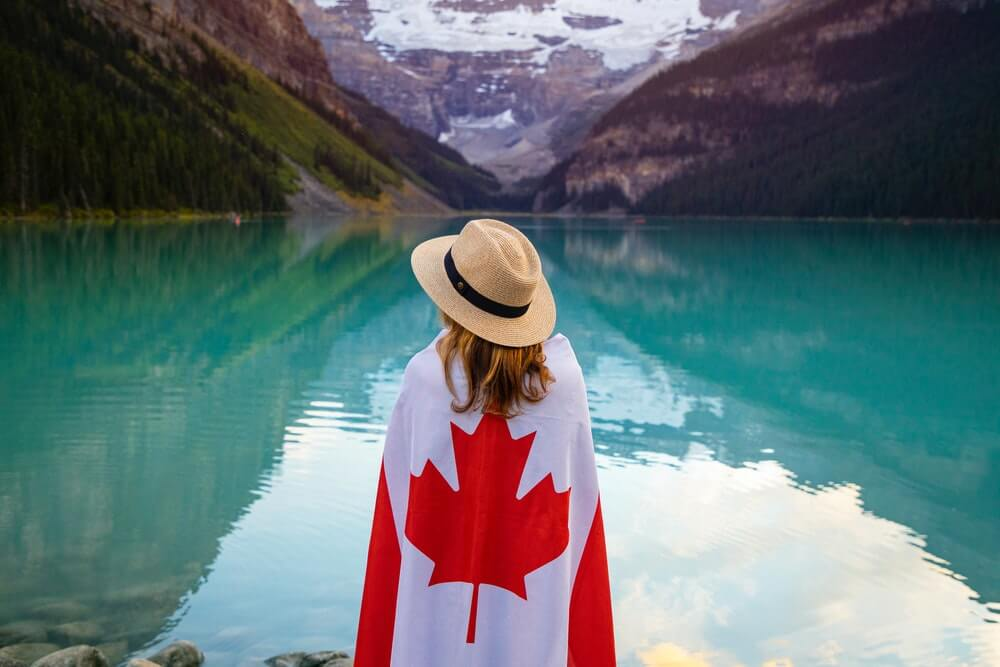 canada flag with girl